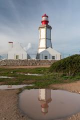 Leuchtturm am Cabo Espichel bei Sesimbra in Portugal