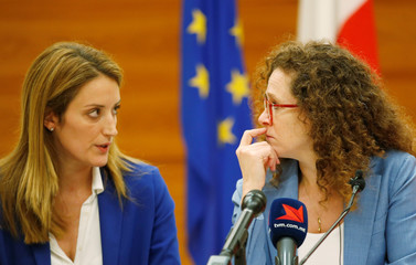 European Parliament delegation holds a news conference following a 2-day fact-finding mission on the political situation in Malta