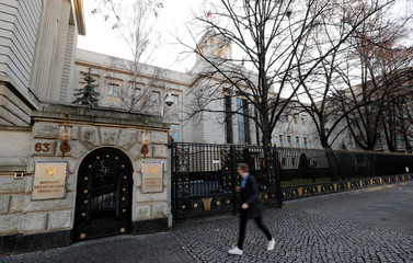 A general view shows the Russian embassy after Germany expelled two Russian diplomats in Berlin