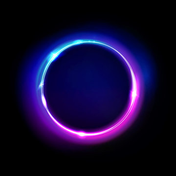 Neon circle sign vector. Light and glow round frame isolated on black background. Purple, violet, blue and pink electric bright 3d circular portal, laser, neon lamp bulb banner.