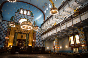The lovely Kazinczy synagogue situated  in the former Jewish Ghetto in Budapest Hungary  Historic Jewish place of worship with an opulent interior featuring stained-glass windows