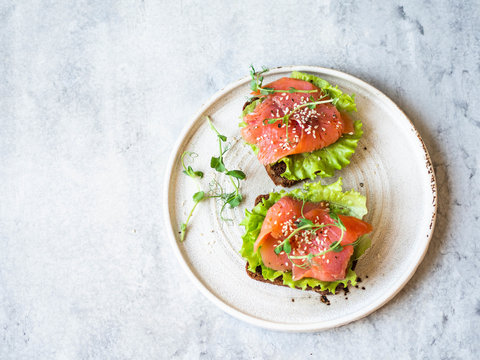 Two toasts with salmon slices, sesame, pea sprouts and lettuce on a white ceramic plate on grey background. Copy space. Top view.