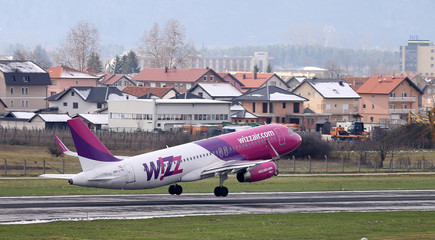 Wizzair airplane takes off from the Sarajevo airport in Sarajevo