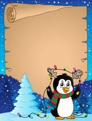 Deurstickers Voor kinderen Penguin and Christmas lights parchment 1