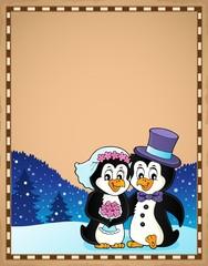 Deurstickers Voor kinderen Penguin wedding theme parchment 3