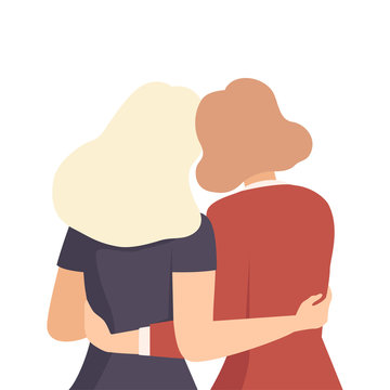 Women Embracing Each Other View From Back Vector Illustration