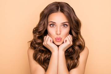 Close-up portrait of her she nice-looking attractive lovely feminine sensual cheerful funny girlish wavy-haired girl sending kiss pout lips organic detox isolated over beige pastel color background