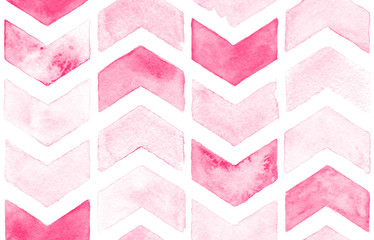 Pink chevron with white background. Watercolor seamless pattern for fabric.