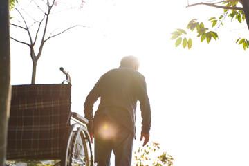 asian senior man trying to walk