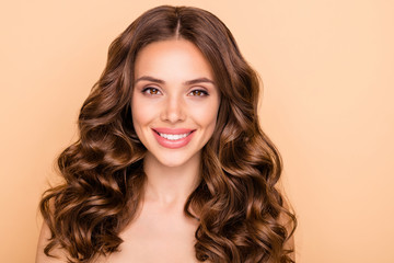 Close-up portrait of her she nice-looking attractive lovely cheerful cheery wavy-haired girl fresh soft skin laser peeling ayurveda anti acne isolated over beige pastel color background