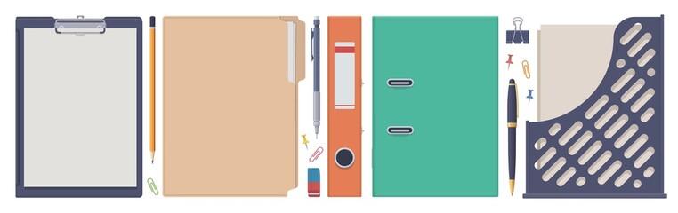 Stationery set. Folder clip board tray. Vector flat isolated illustration