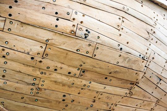 Closeup of wooden boat hull
