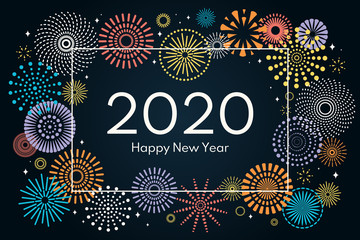 Vector illustration with colorful fireworks frame on a dark blue background, text 2020 Happy New Year. Flat style design. Concept for holiday celebration, greeting card, poster, banner, flyer. Fototapete