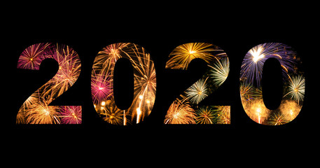 New year celebration fireworks on text 2020 for new year's event