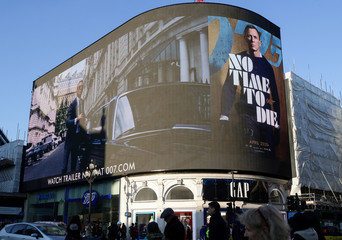 "Trailer for a James Bond film ""No Time to Die"" is displayed in London"