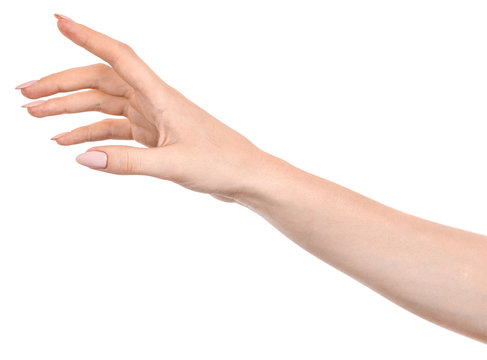 Female caucasian hands  isolated white background showing  gesture points finger to something or someone.  woman hands showing different gestures