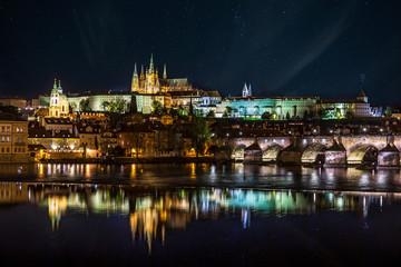 Night panorama of Prague, Czech Republic