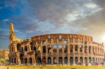 Sunset scene at the Colosseum in Rome, Italy