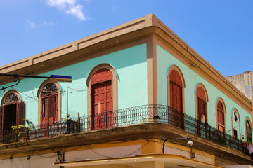 Architecture of Havana - Cuba with balcony and colorful fresh laundry on the balcony, Cuba