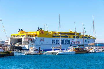 Morro Jable, Spain - December 9, 2018: Fred Olsen ferry in the Port of Morro Jable on Fuerteventura island, Canaries, Spain. Fred Olsen Express is an inter-island ferry service based in Canary Islands