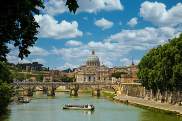 The Vatican from across the Tiber river in Rome, Italy