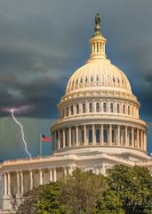 Lightening hitting the United States Capitol, Washington D.C.