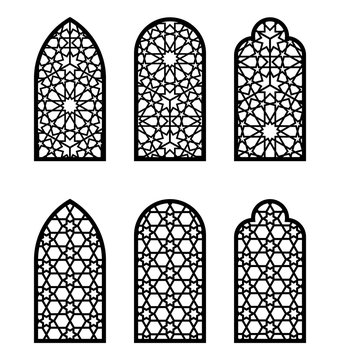 Islamic arch window or door set. Cnc pattern, laser cutting, vector template set for wall decor, hanging, stencil, engraving