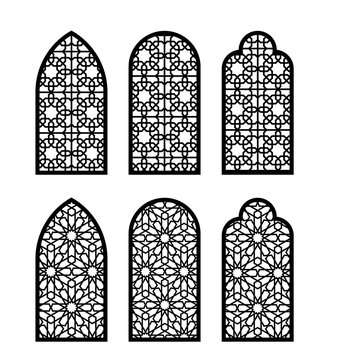Arabesque arch window or door set. Cnc pattern, laser cutting, vector template set for wall decor, hanging, stencil, engraving