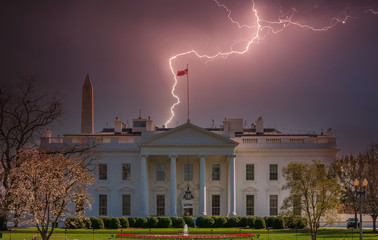Lightening hitting the White House, Washington DC