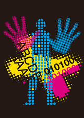 Printer, color print raster background.  Raster background with male silhouette with cmyk print colors. Vector available.