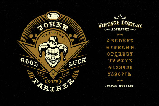 Display hand crafted vintage Font Joker. Letters and number
