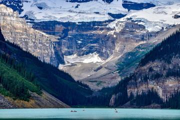 Canoeing on Lake Louise in Alberta Canada