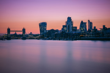 Long exposure, Tower bridge and London skyline during sunset