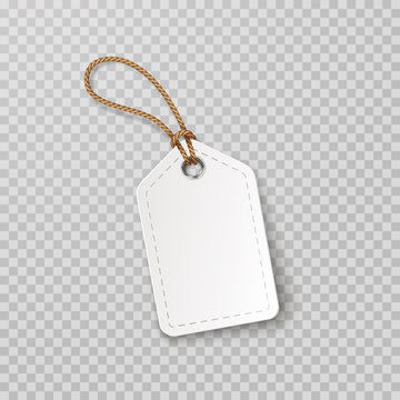 Tag with rope isolated on transparent background. Cardboard label, paper sale or gift empty sticker and string. Vector blank realistic price banner, promo offer mockup..