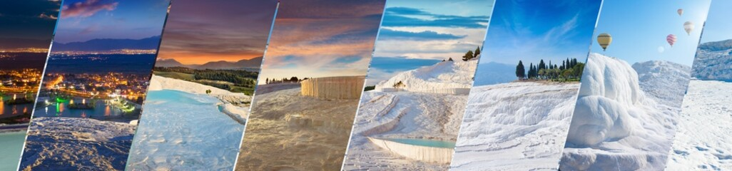 Foto auf AluDibond Weiß Amazing white travertine in different time of day, geological phenomenon literally