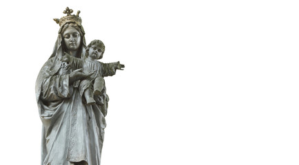Statue of Virgin Mary and Jesus Christ as a symbol of love and kindness. Free space for text.