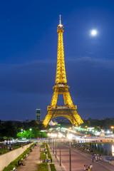 Paris, France - May 2019: Illumination of Eiffel tower at night
