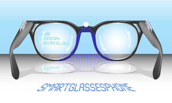Smart-glasses-phone with an inscription on the lens and a blue projection of letters EPS10