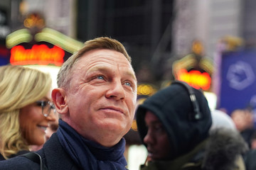 "Actor Daniel Craig reacts during a promotional appearance on TV in Times Square for the new James Bond movie ""No Time to Die"" in the Manhattan borough of New York City"