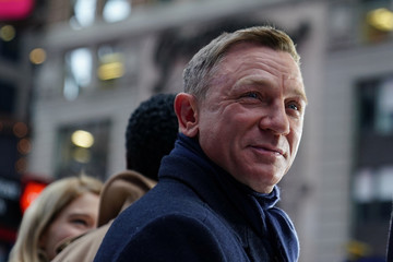 "Actor Daniel Craig reacts during a promotional appearance on TV in Times Square for the new James Bond movie ""No Time to Die\"