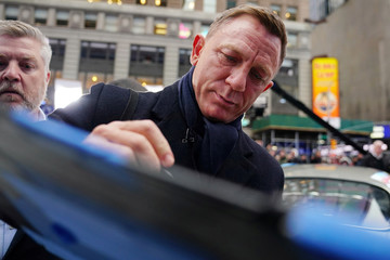 "Actor Daniel Craig is seen during a promotional appearance on TV in Times Square for the new James Bond movie ""No Time to Die"" in the Manhattan borough of New York City"