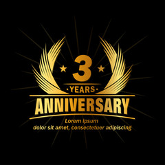 3 years logo design template. Anniversary vector and illustration template.