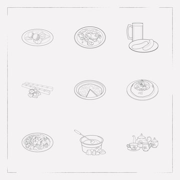 Set of food icons line style symbols with swiss fondue, german beer with sausage, hungarian goulash and other icons for your web mobile app logo design.
