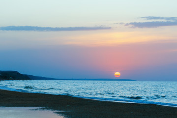 Summer seascape with beautiful sunset