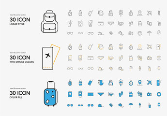 30 Travel and Vacation Icons