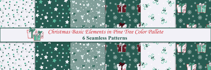 Christmas Basic Elements in Pine Tree Color Pallete Seamless Pattern Collection, Great for For Backgrounds, Wallpapers, Fabrics, Wraps and many more Designs