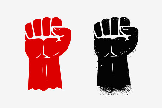 Raised clenched fist. Graphic symbol vector illustration