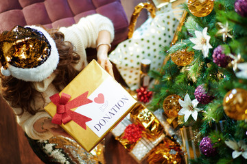 elegant housewife holding special Christmas charity gift box