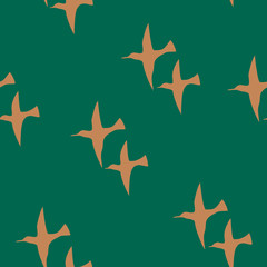 Seamless pattern with couples of birds. Simple flat template for wrapping, textile, wallpapers.