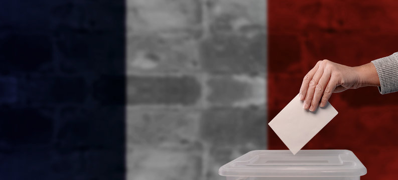 France Election. General election. Municipal election. French flag. Vote. Empty space.